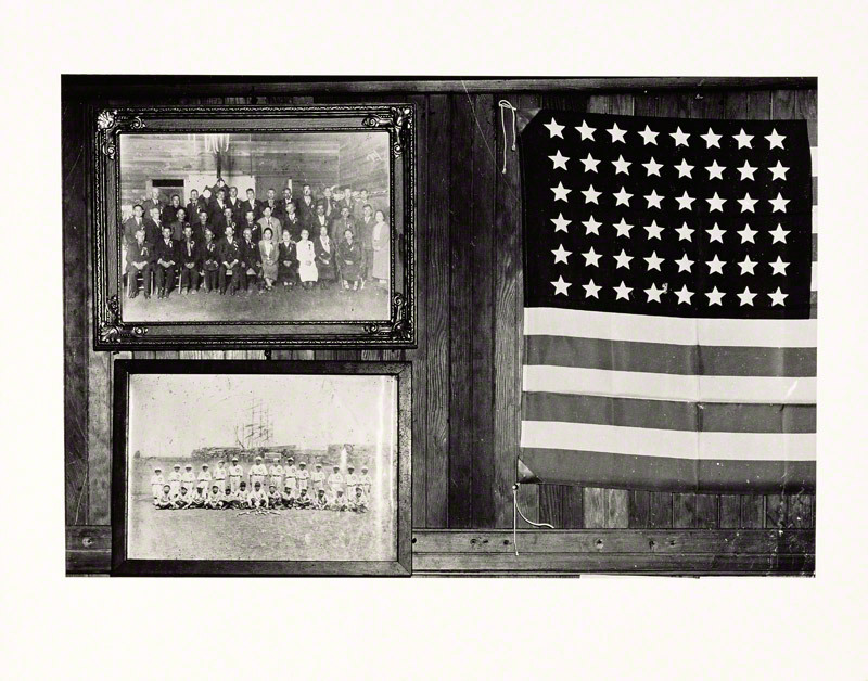 Display of Flag and Japanese Family Photographs, 1942, Dorothea Lange. The J. Paul Getty Museum, Gift of the John Dixon Collection