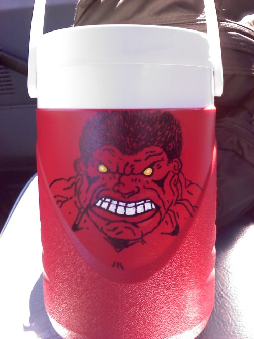 Red Hulk on my Thermos
