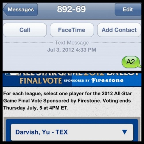 YU can #VoteYu for #FinalVote from YUr iPhone! No excuses… Get to it! #TexasRangers @Rangers (Taken with Instagram)