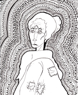 woman in a large coat who is messed up about something, uncolored. -3 july '12