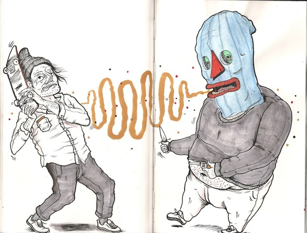SKreet Bullies~ Drawing By Austin England and Collab Robber Mask By Brian smith