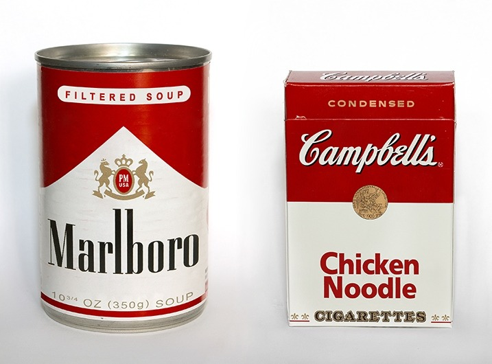 unknowneditors:  Marlboro Filtered Soup, Campbell's Chicken Noodle cigarettes by Jeff Goran.