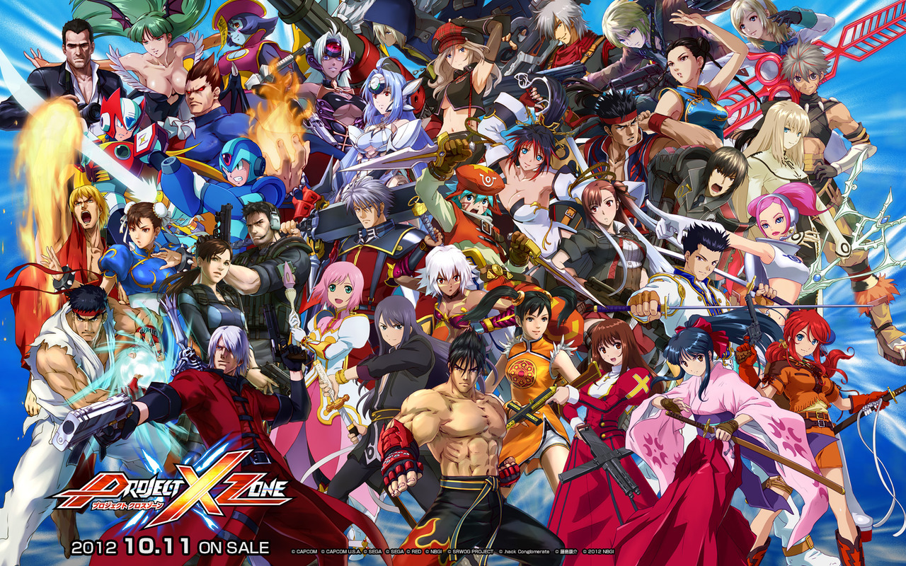 Project X Zone wallpaper is loaded with characters. Perhaps overloaded. This is an irresponsible number of crossover game characters to put on someone's desktop. If you download it, you run a risk of having some of your icons camouflaged out of existence. In other PXZ news, here's that trailer Namco told us was coming. It is ten damn minutes long.  Buy: Nintendo 3DS (Flame Red, Pearl Pink, Black, & Blue) Find: Nintendo DS/3DS release dates, discounts, & more See also: More imports [Via Andriasang]