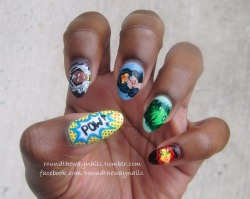 Marvel and DC heroines on natural nails #noboysallowed  I used 19 different nail lacquers to achieve this. Consequently, these babies took FOREVER to dry : P