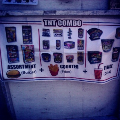 #Burger #Fries and #Drink anyone. #fireworks (Taken with Instagram)