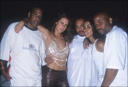 Jay-Z. Natane Adcock. Hype Williams. Aaliyah. Damon Dash.@ Diddy's annual All White 4th of July Party in the Hamptons, 2000.