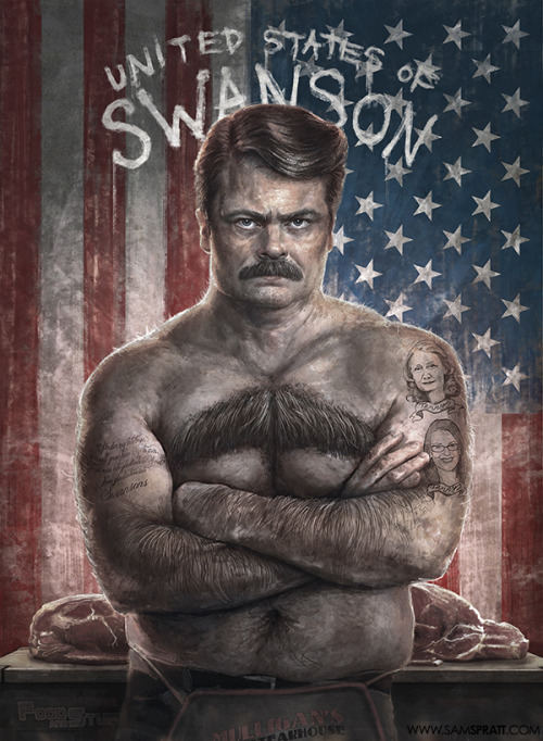 samspratt:  Ron Swanson : United States of Swanson Edition - by Sam Spratt Because mustaches were invented in 'merica… as were made-up facts. (Original Ron Swanson available here)  Amurrica FUCK YEAH!