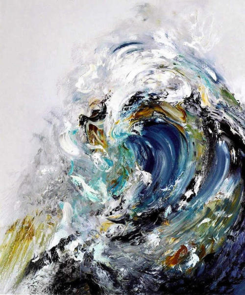 "artchipel:  Maggi Hambling - Summer Wave Tunnel. Oil on canvas, 170.2x37.1 cm (2010) ""The sea has many moods. It can sometimes be a raging beast and at other times it seems to laugh at you."" - Maggi Hambling [found at pulmonaire]"