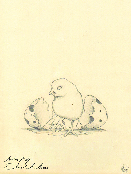 New little characters with the egg. 6/12, ballpointpen on paper.