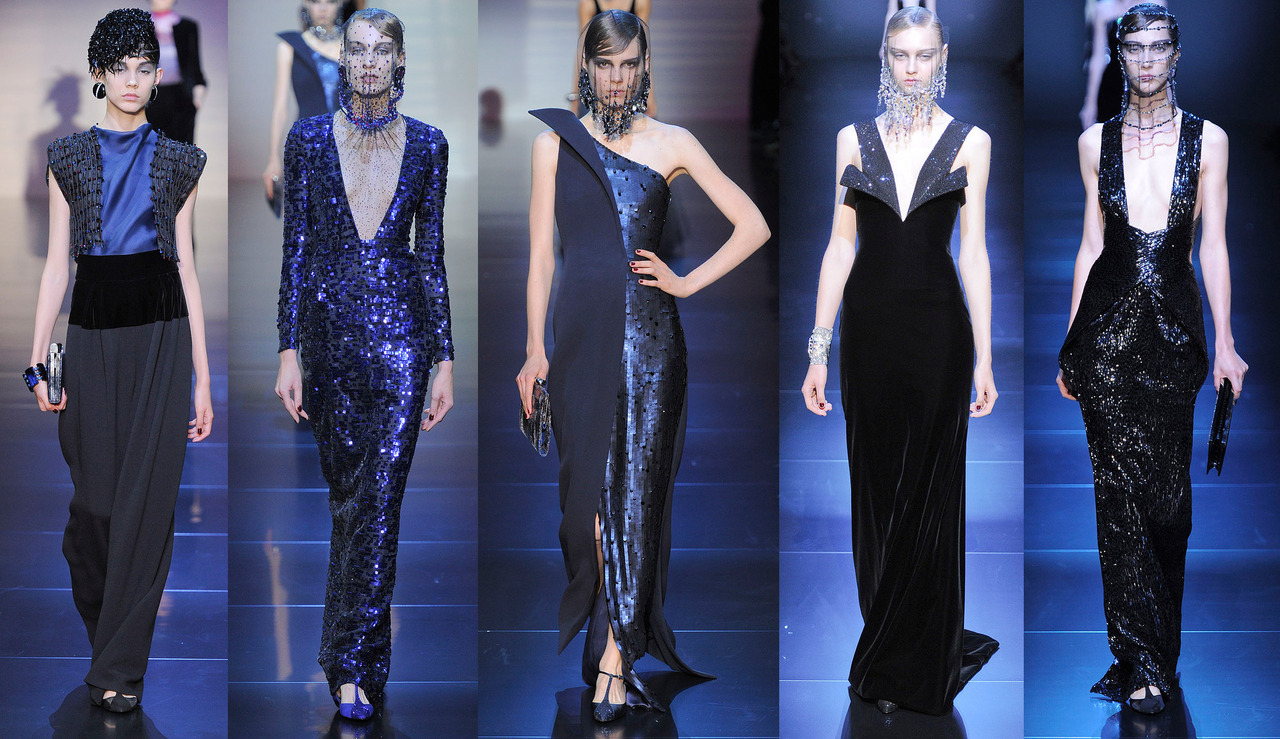 Let's begin a review of the Armani Prive` show with the evening-wear. Because why not. For Fall 2012 Couture, Giorgio Armani (and presumably a substantial team of designers, drapers, flat patternmakers, seamstresses and embroiderers) showed a collection that was oddly reminiscent of a David Lynch film from the early 90's. Look at these gowns! Can't you just see Isabella Rossellini swanning around in any of them with her brows done super dark and heavy and her hair all slicked back? Okay maybe that's more a la` her role in Death Becomes Her, but you see what I mean. Obviously the gowns are beautiful and sort of darkly, aggressively chic. They just don't feel very fresh or modern to me, especially after the revelation that was Raf's show for Dior. While it may seem unfair to compare, I do think the Dior show is now the standard to which the rest of the shows will be held. And rightly so. -RS (Image via Vogue.com)
