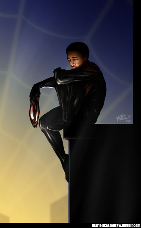 hellotailor:  marielikestodraw:  I accidentally Miles Morales. Because of reasons. Many of them. Hope you like it :D  Marielikestodraw is AMAZING and this picture gives me entirely too many feelings for fanart that's based on a source I haven't actually read yet. :((((((((((((