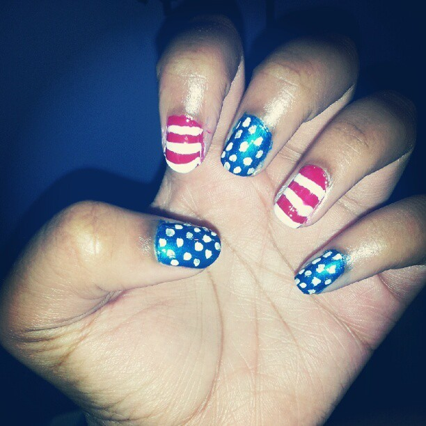 4th of july nails (Taken with Instagram)