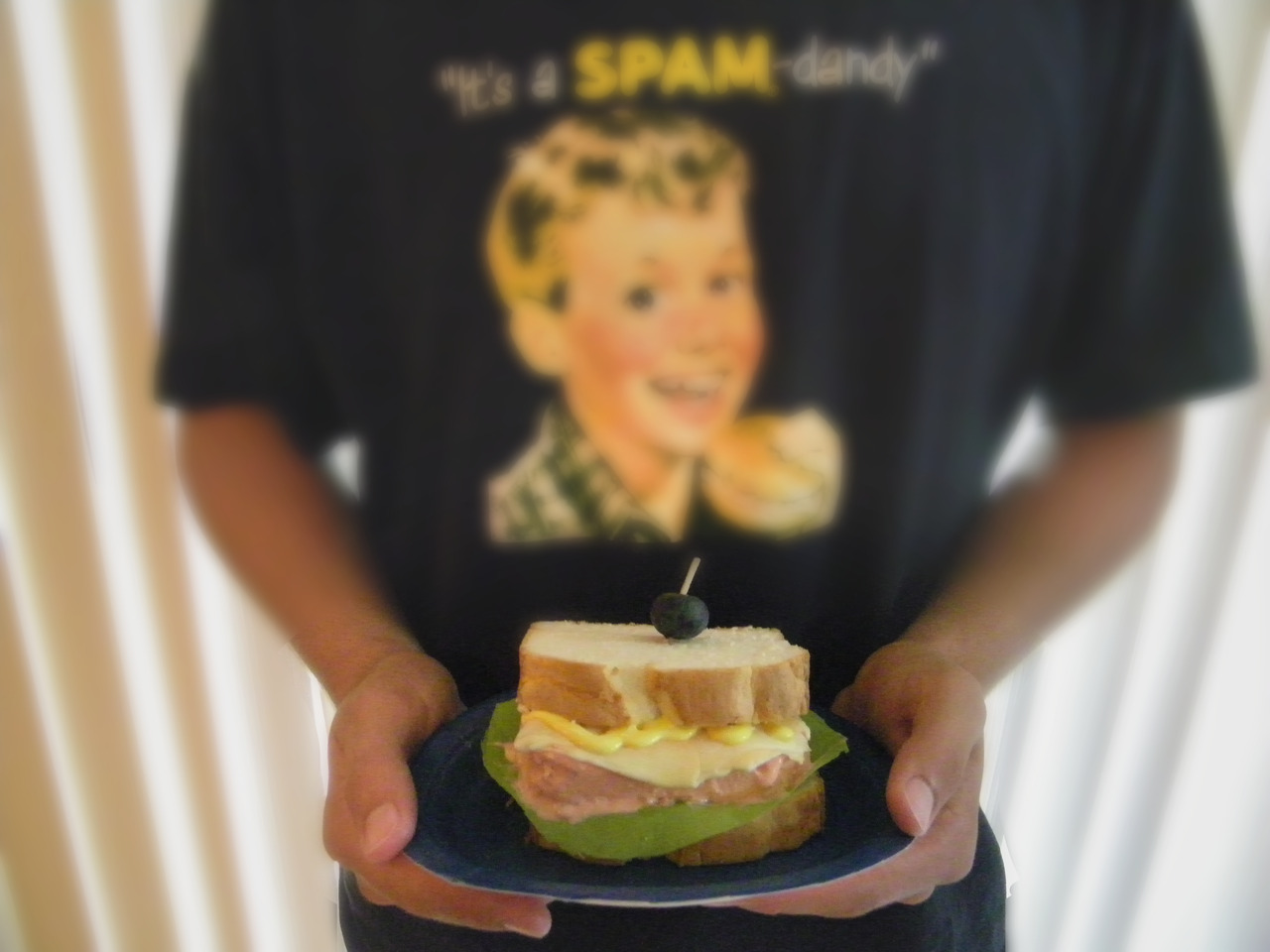 I made a Spamwich cake for a contest to celebrate the 75th anniversary of SPAM. Check it out! This is the pretty version, click to see original. Bread: Angel food loaf SPAM: Angel food loaf with pink colored frosting Cheese: Melted, rolled-out starburst candies Mustard: Colored frosting Olive: blueberry Lettuce: I was going to color some rice paper green, but I didn't have any so I cut a piece of a sheet of plastic table cloth