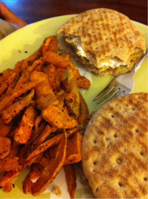 Wheat berry burgers with goat cheese and sweet potato fries.