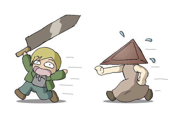 gamergirl16:  Hahaha James And Pyramid Head <3!  Its so messed up I know, but that's like a OTP for me…  Does anyone else share this?