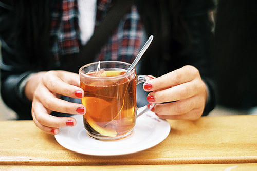 A cup of lemon tea to keep cool during these hot summer days.