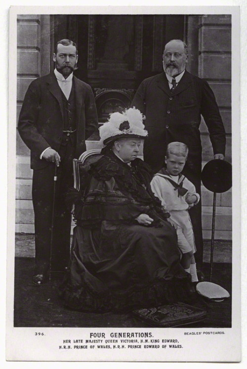 royal-world:  Three Kings and one Queen - Queen Victoria with her son Bertie (future King Edward VII), grandson George (future King George V) and her great-grandson David (future King Edward VIII).