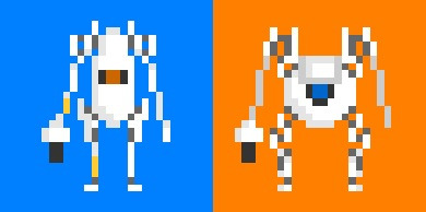 "ATLAS and P-Body, the two co-operatively programmed testing robots who star in ""Portal 2"", now each given a retro-style pixel makeover.  I'd imagine that an 8-bit portal would be something like a mixture of Super Meat Boy and Contra, with the ubiquitous portals thrown in for good measure. What about you ?"