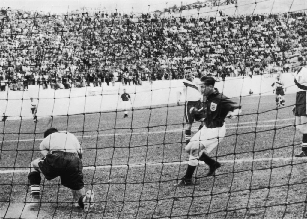 1950 World Cup: England v USA (0-1)USA goalkeeper Frank Borghi and England's Tom Finney in action, June 29, 1950. Belo Horizonte, Brasil. Source: Nettavisen