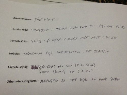 "We're filling out ""character"" bios for Into The Woods, and I figure all wolves in literature are the same wolf."