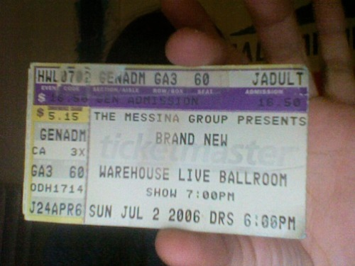 ashattack1k:  Found this gem in my old stick bag. Brand New ticket stub from 2006. I was 14, it was my mom's birthday, and I was out too late. What a rebel~   I drove and definitely got pulled over in Missouri City for speeding. First night I met @timidtongue irl.