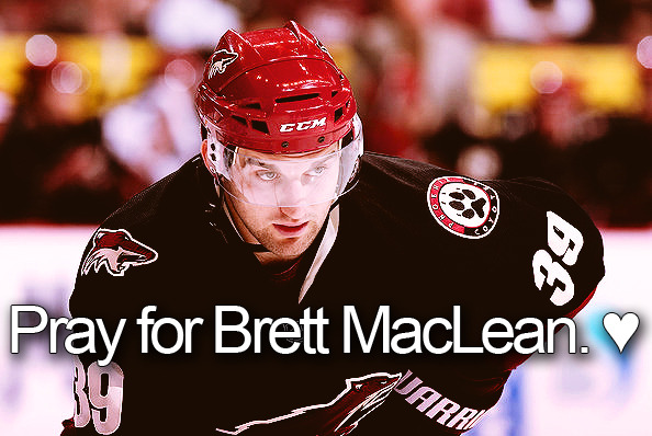 Brett MacLean of the Phoenix Coyotes has been admitted to hospital after suffering a cardiac emergency. Read more here.  If there's one thing I know about the hockey community, it's that we stick together and we can all pull together. Let's all come together and say a prayer for Brett MacLean.