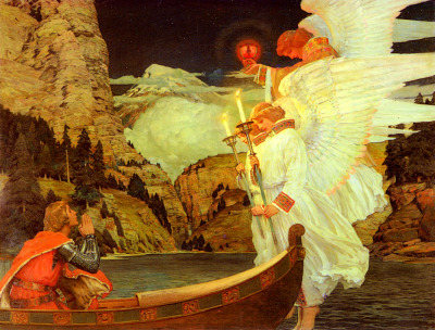 ponderful:  Frederick Judd Waugh, The knight of the Holy Grail (c.1912)