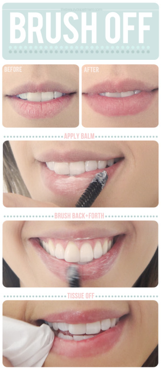 Do it yourself lip smoothie   Dry + cracked lips ruin how lipstick looks. And because of recycled air, flying, dehydration and just life, unfortunately all of us are victims! So I'm sharing exactly what I have my clients do before I apply their makeup. All you need is a disposable mascara wand (or toothbrush if you don't have one), lip balm (I use this one for severe cases and this one for a healthy vitality) and a tissue. 1. Dip the wand into the balm to pick up a decent amount onto the bristles then apply it directly on your lips (I have them start with their bottom lip).2. Scrub back and forth, up and down and in small circular motions in the same fashion you would brush your teeth. Really work on the flaky areas until the loose skin gently breaks off.3. Wrap a tissue around your finger and remove any flaky residue. That's it! If you want to stay on top of it and keep your lips polished and crack-free all year round, every time you brush your teeth, before you're done, brush your lips with your toothbrush as well.