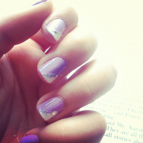 i-am-infinitely-nails:  Purple nails The Face Shop purple nail polish NatureRepublic white nail polish OPI Crown Me Already sparkly nail polish