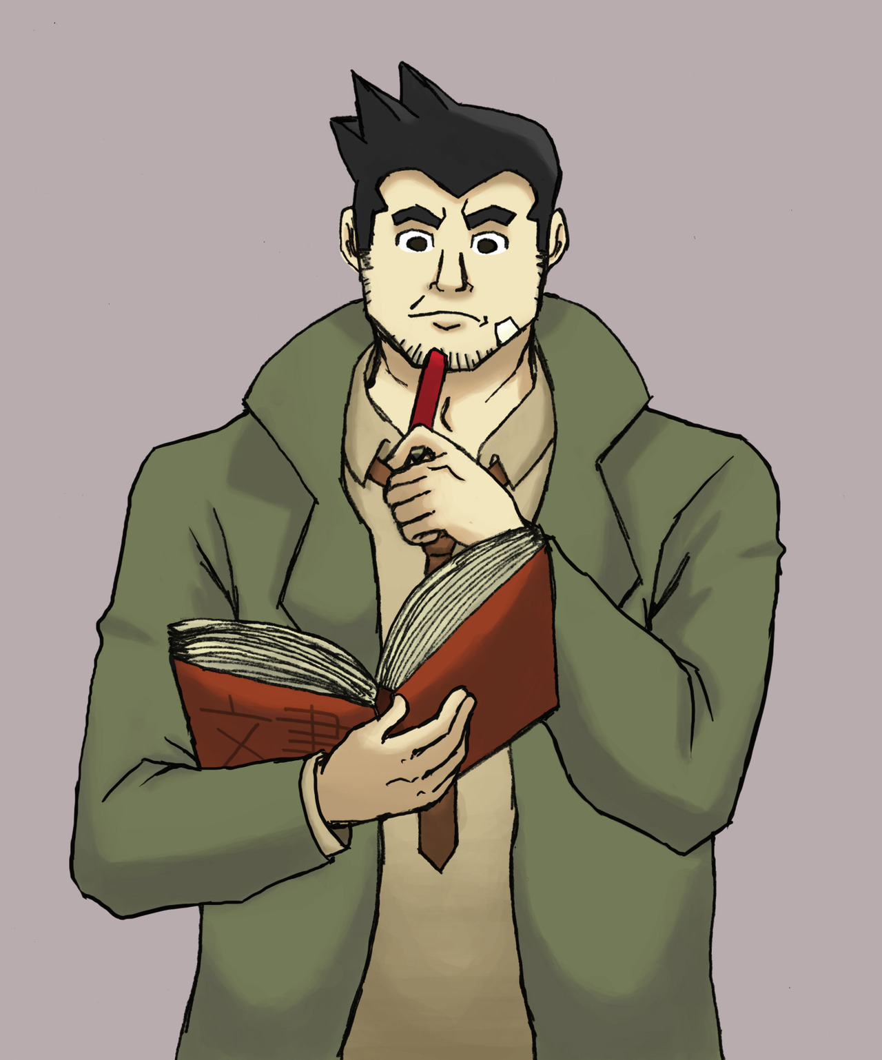 So, you know how Gumshoe always has a pencil on his ear? I was thinking and made a dumb headcanon where he feels really bad for being behind so much on all the cases and stuff, so he writes down everything he can to keep up to speed, but ultimately he ends up forgetting anyway so it doesn't help him much… but at least he tries! He just wants to be helpful and not feel bad when people call him dumb. 'Cause he's not. He tries very hard!!! sighhhhhh look at me blabbing about headcanons no one cares about HAH I came up with a bunch of other headcanons while coloring this but that's because I'm done. ALSO big 'ol thanks to Cafechan for coaching me with colors and also fixing the arms. I'm a babby and can't art. I need to be babysit.