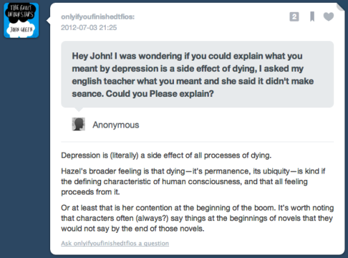 chronic-nostalgia:  *its *book john, two typos in one answer? can I direct you to this?  oh, apparently he's answering questions from his phone, all is forgiven.
