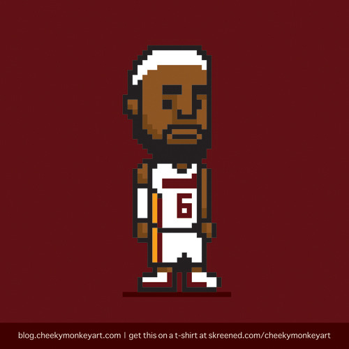 8-Bit Lebron James | Purchase this on a t-shirt, or as a digital print.