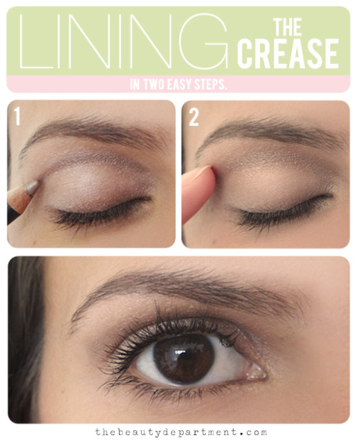 "Matte Contour (Lining the crease)   Did you know you can use your eyeliner to contour your crease? I prefer it to shadow when I want a really strong + matte look. Here's how: TOOL: I used Le Metier de Beaute Dualistic Eye Pencil in Champagne (a smoky taupe) to show you the most natural version. But you can certainly use brown, dark gray or even black for a more Sixties-inspired version. Just make sure it's a kohl pencil and not a longwear or kajal liner as it needs to be blendable. STEP 1: Practice first with the cap still on or with the back end of the pencil by starting in the inner corner then tracing in a half-moon shape so you can  ""feel"" out where the hollow socket is. Technically you're tracing the outline of your eyeball (oh so chic!). Now that you're confident where to draw the line, take the cap off and sweep the liner back and forth like a windsheild wiper from one end to the other until you have a nice color payoff. STEP 2: Blend the line gently with your finger to smooth out any edges. That's it! I didn't go further with Carissa's makeup because I wanted this technique to be the only focus but you can then trace the same liner on your bottom lashline for balance and finish with mascara."