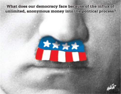 "What does our ""democracy"" face because of the influx of unlimited anonymous money into the political process?  Oh, and Happy 4th of July 'merica!"