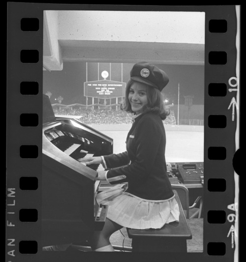 Sixteen year old Donna Parker, official organist for the Los Angeles Dodgers playing during a game in 1972.