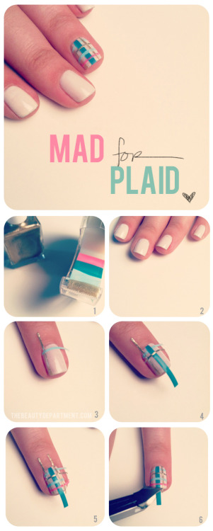 Mad For Plaid We found yet another use for those lovely DIY nail stickers. Here's how we created a plaid party: Paint your tape with 3 or 4 different colors. Cut into strips. Do a couple different widths. Paint your base coat. We used an off white vanilla color. You'll want to start building from the inside corner and move outward. Over lap one vertical and one horizontal strip. Now do another set of stickers out from that set. Keep going until you get to the opposite corner. Use cuticle nippers to trim the excess sticker. Always apply a top coat over tape stickers to avoid to peeling!