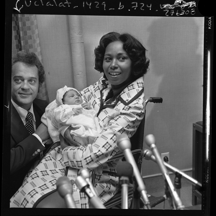coolchicksfromhistory:  Representative Yvonne Brathwaite Burke leaves Queen of Angels hospital with her 6-day-old daughter Autumn Roxann.  Yvonne was the first member of Congress to give birth while in office.