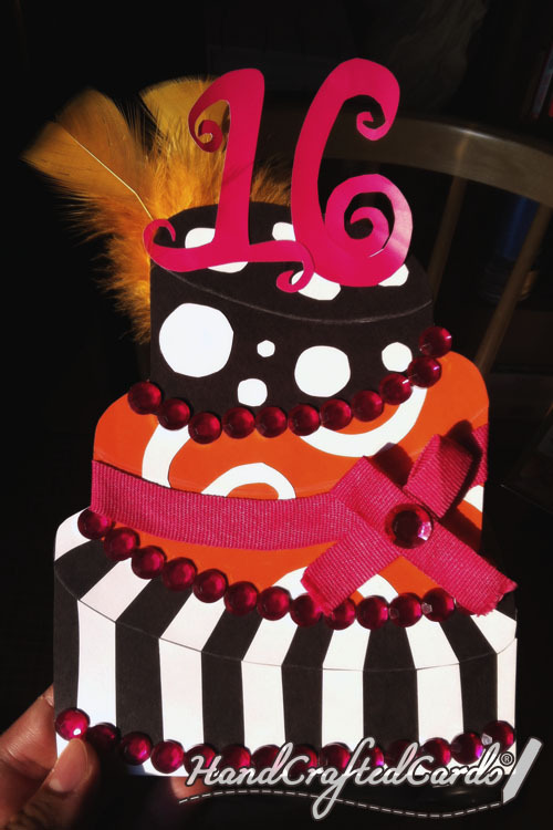 Funky Sweet 16 Birthday Cake Card by HandCraftedCards