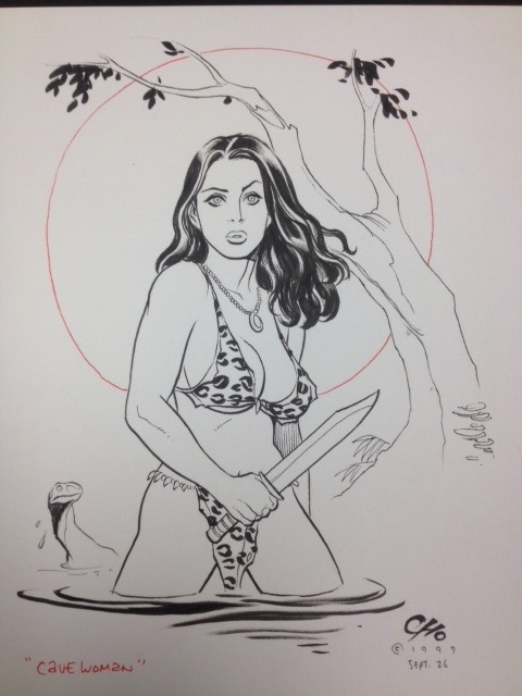"fukutopia:  Frank Cho ""Cave Woman"" Pin-Up — For Sale!"