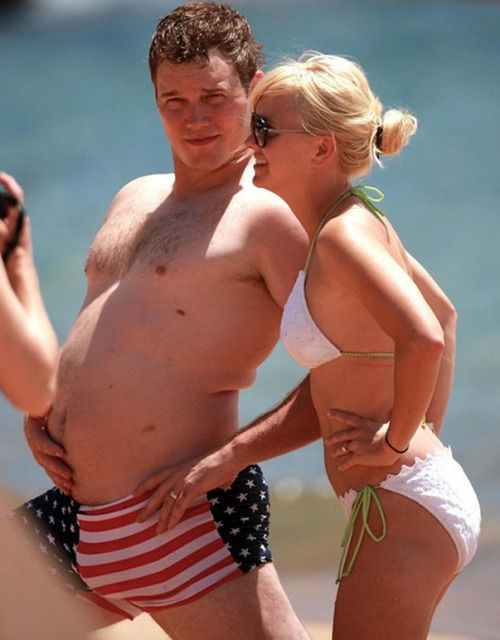 imwithkanye:  Happy 4th of July from Chris Pratt and Anna Faris.