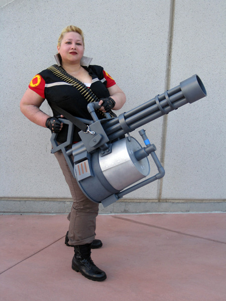 "FemHeavy from Team Fortress2. But Obscuredawareness! you protest. This is TF2. AGAIN. And with no hats! What's wrong with you! And all I can say is: I'm not sorry. I try to be as objective as possible when putting cosplay up, but I love TF2 and I'm in love with this femHeavy. SO YEAH. ""Sandvich you are loose canon but make great cop!"" -Heavy I don't know the source, sadly. If anyone does, please let us know, so we can give credit where it is due!"