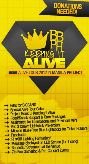 bigbangph:  Hello VIPs! :) As you all know BIGBANG will be coming to Manila on October 24th for their Alive Tour 2012 concert <3 We all want to make this a memorable day and to do that, WE NEED YOUR HELP!  We've planned, KEEPING IT ALIVE: BB Alive Tour 2012 Project, and we will need the help of every VIP :) To find out more about this, please visit the Alive Tour Project page on our website! ^^ BBPH Website KEEPING IT ALIVE PROJECT PAGE BBPH Facebook Page Twitter Please reblog and spread the word! ^^