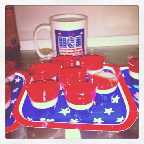 Jello Shots are done. Now time for that hotel party. #Patriot #JelloShots #FourthOfJuly  (Taken with Instagram)