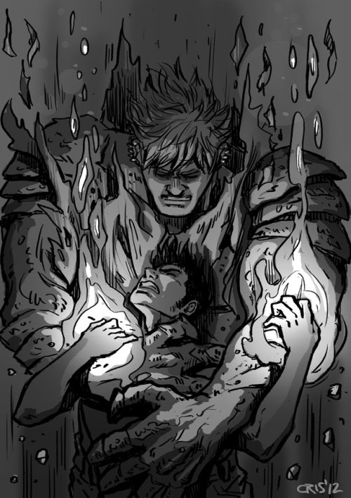 "cris-art:  ""Out of control"" , a sketch of Billy losing control of his powers… and Teddy helping him regain it. I hope you like it!  CRIS' ART ALWAYS BLOWS ME OUT OF THE WATER. HOLY SHIT."