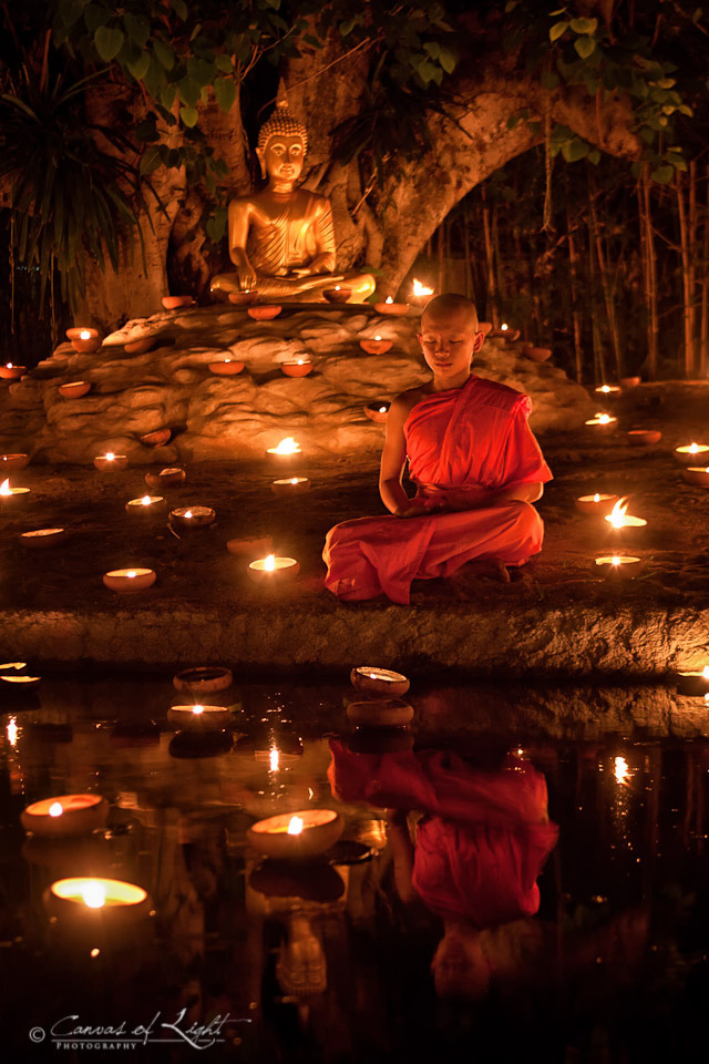 e-xplore:  A young meditating monk during the Visakha bucha holiday in Chiang Mai, Thailand.