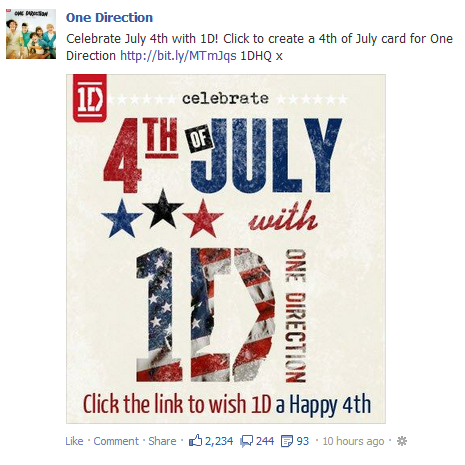 tricksrightupmysleeve:  Thanks, One Direction Facebook.  I will do that right away.  I will immediately wish a Happy Fourth of July to One Direction, because that's totally a holiday they celebrate and everything.  Liberation from British tyranny: clearly right up their alley.