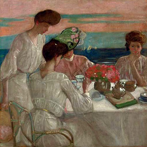 Frederick Carl Frieseke Afternoon Tea on the Terrace 1906