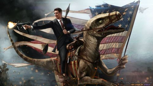 Just Ronald Reagan Riding a Velociraptor.