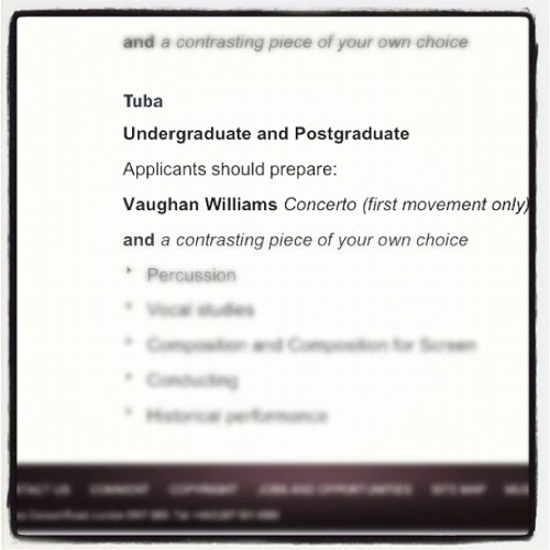This #audition scares me more then #allstate…. #rcm #royal #college of #music. #tuba #future #dreams (Taken with Instagram)