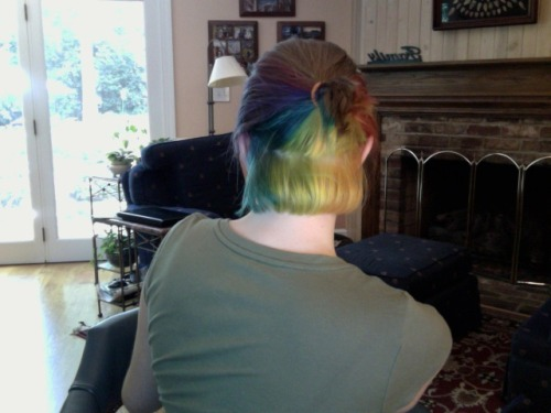 """I dyed my hair rainbow once or twice C:"" Thanks for the pic!"